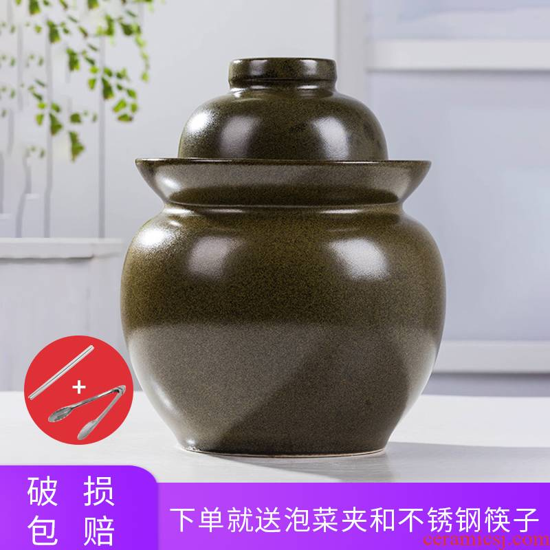 The Pickle jar ceramic small household pickles earthenware cylinder thickening sauerkraut kitchen old traditional lead - free seal pot