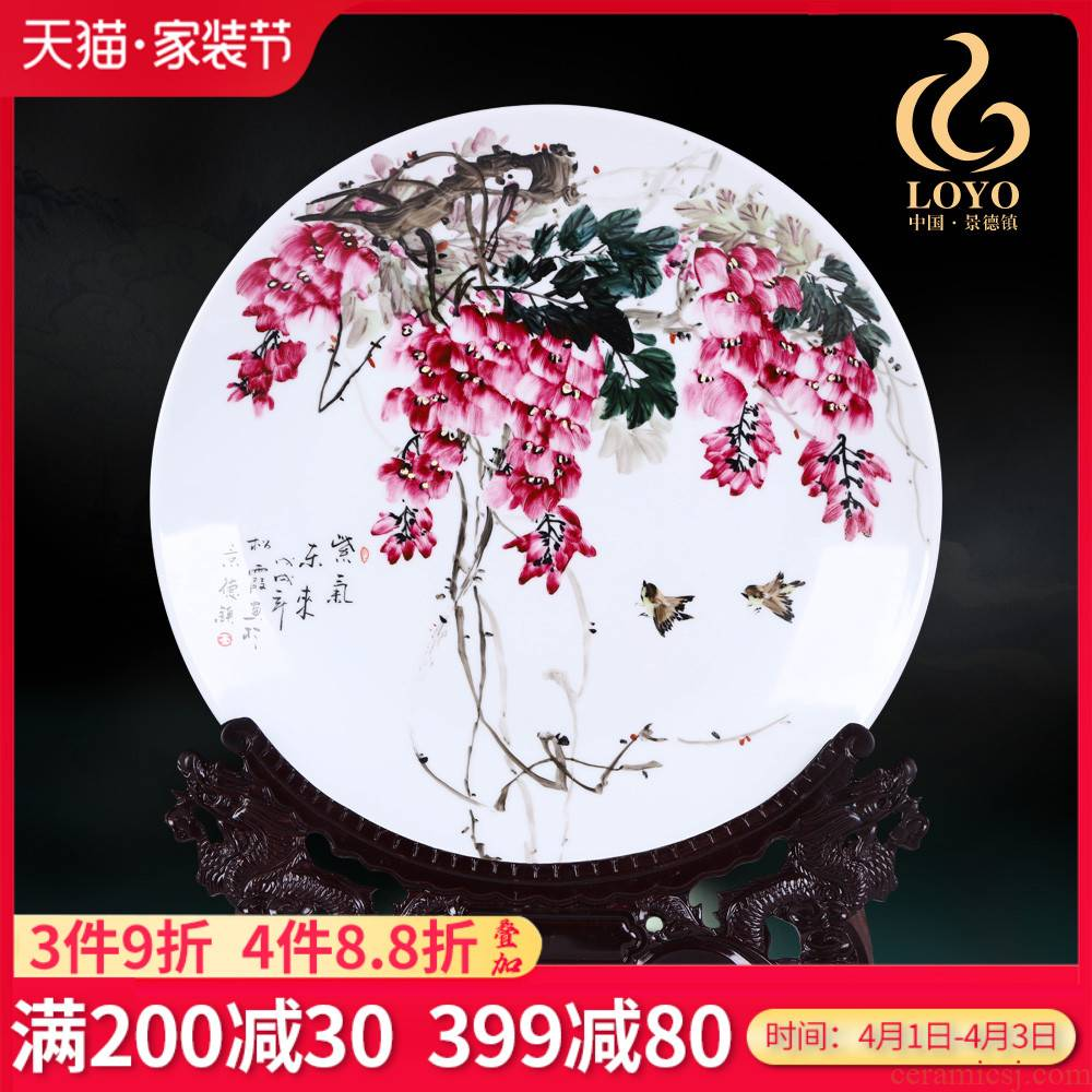 Jingdezhen ceramics furnishing articles hand - made sabingga sukdun dergici jimbi hang dish by dish sitting room of Chinese style household decorative arts and crafts