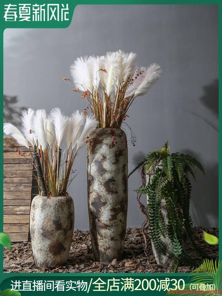 Retro coarse TaoHua implement hotel villa floor ceramic large vases, flowers simulation between example floral decoration furnishing articles