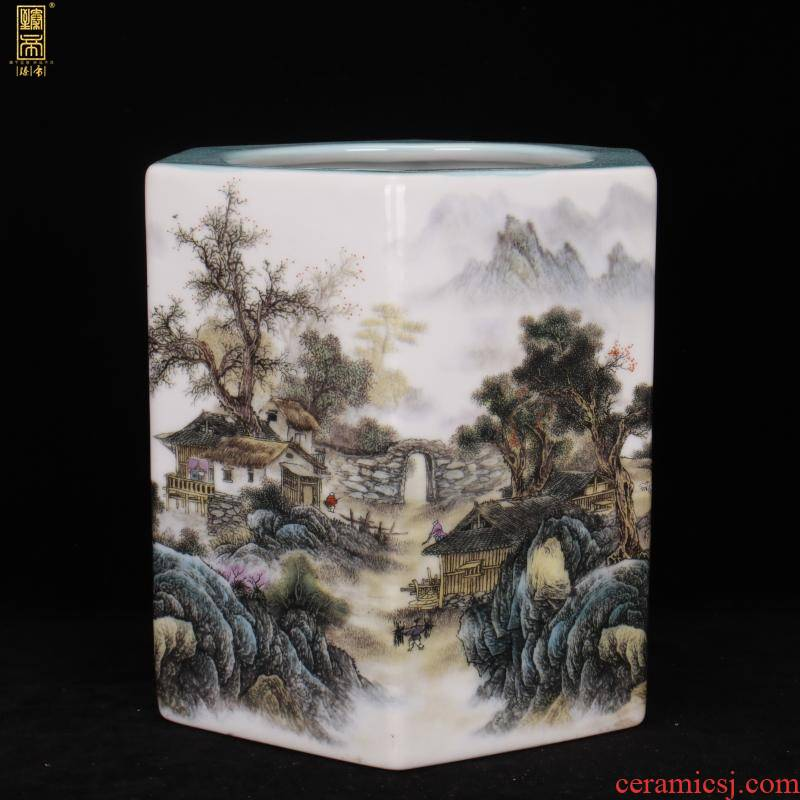 Archaize of jingdezhen porcelain qianlong pastel scenery the six - party big brush pot pen sea Chinese four desk office furnishing articles