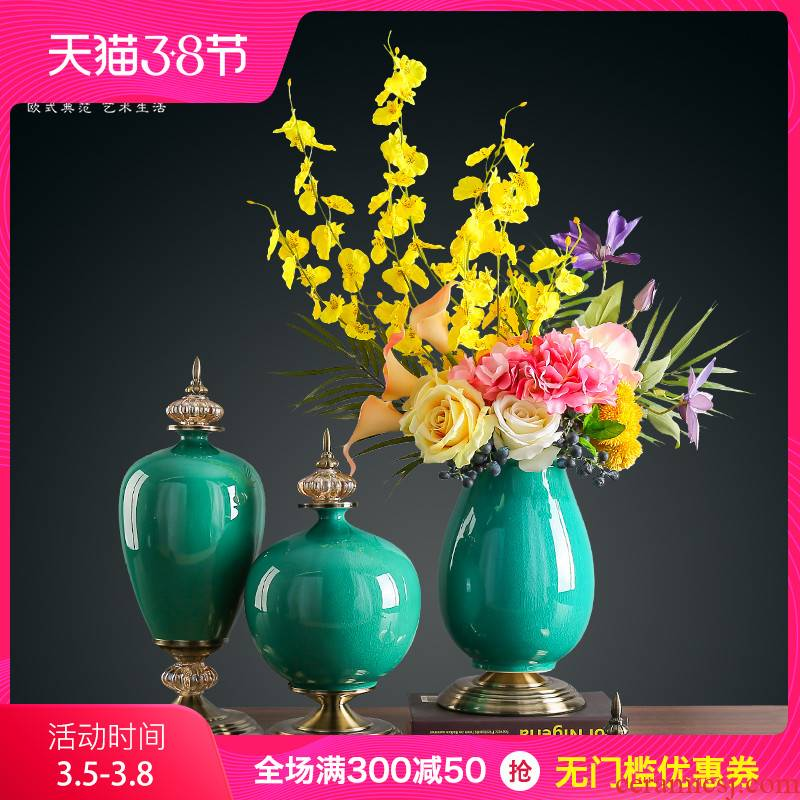 The New Chinese vase living room TV cabinet table decorations furnishing articles European contracted ceramic dry flower arranging flowers porch decoration