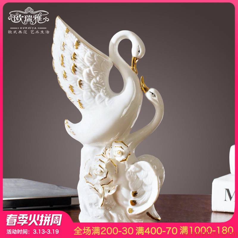 European ceramic decoration modern home sitting room adornment small ornament of white swan furnishing articles
