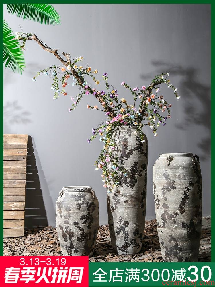 Of large ceramic vase device furnishing articles dried flower arranging flowers sitting room Of Chinese style restoring ancient ways Of creative household decorative pottery by hand
