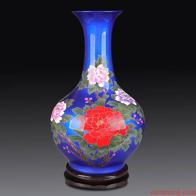 Jingdezhen ceramics vase furnishing articles blue flower arranging the sitting room of Chinese style household decorations arts and crafts porcelain decoration