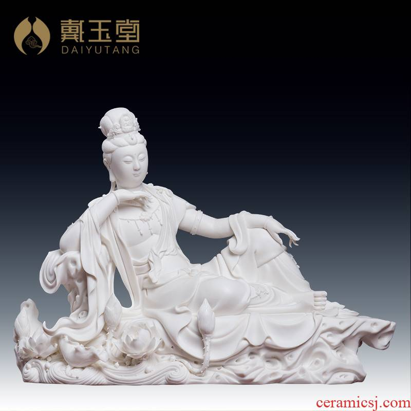 Yutang dai dehua ceramic Buddha master Liu Mingzhi works home furnishing articles lie lotus guanyin/D19-17 a