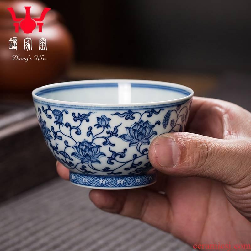 Maintain master clock home up CPU single CPU hand - made porcelain teacup pure manual jingdezhen tea lotus flower small tea cups