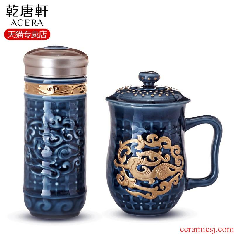 Dry Tang Xuan live China cups and gold trend in the receive gift box 2 ceramic tea cup and cup business gifts