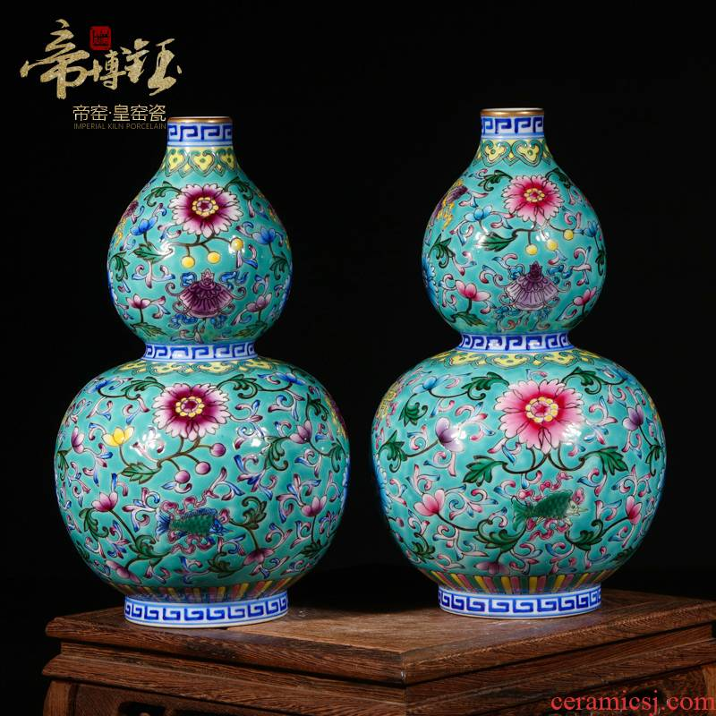 Jingdezhen ceramics archaize the qing qianlong colored enamel paint gourd vases, Chinese style living room handicraft furnishing articles
