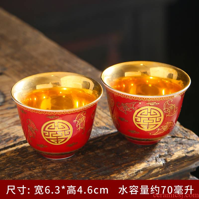 Gold ceramic cups suet jade porcelain pure Gold master single cup Gold sample tea cup home from the small tea cups