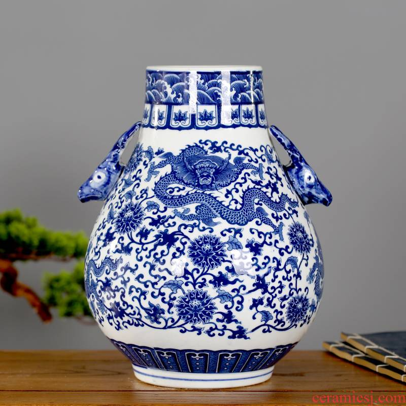 Jingdezhen ceramic furnishing articles sitting room big vase flower arranging dried flowers with Chinese style ear blue and white porcelain porcelain decorative household items
