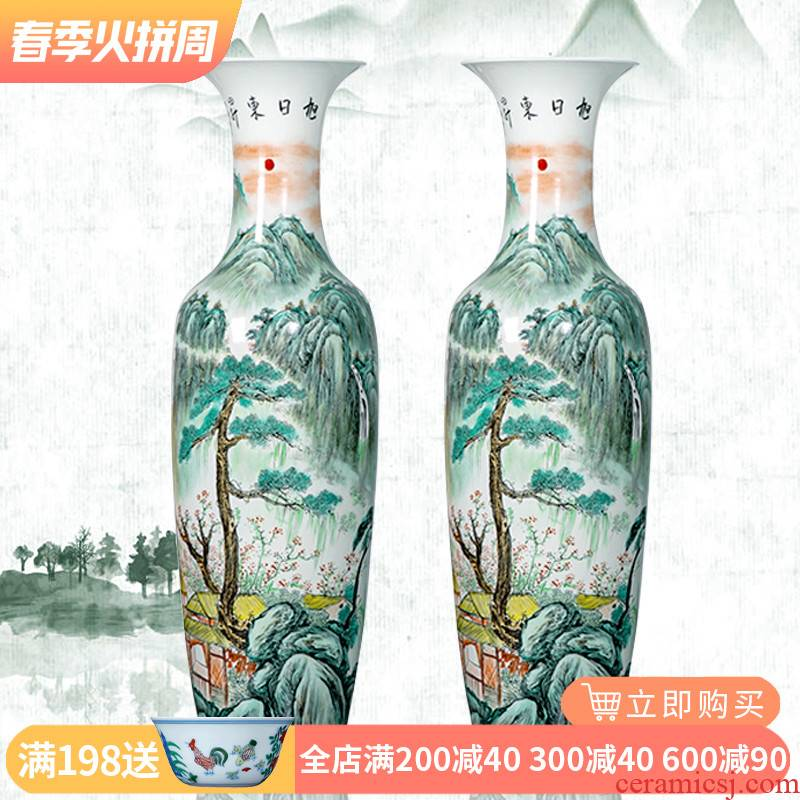 Jingdezhen ceramics hand - made big vase sitting room porch landing place hotel decoration for the opening of the new Chinese style gifts