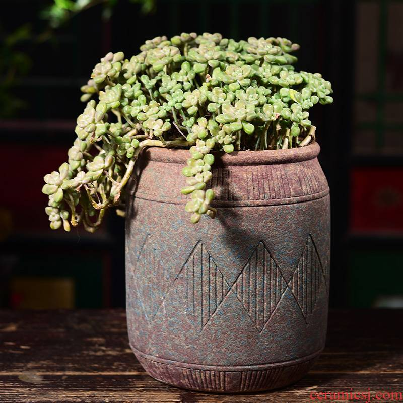 Complex ancient running the basin fleshy mage ceramic coarse pottery flowerpot breathable tall fleshy plant creative household balcony