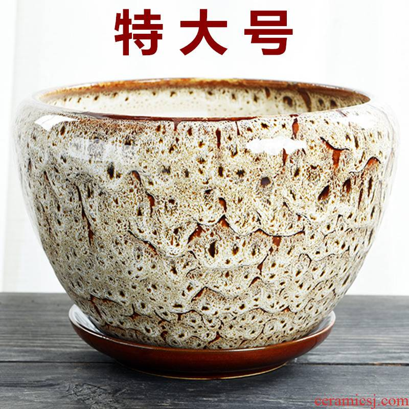 Heavy flowerpot ceramic large special offer a clearance with tray was contracted household creative bracketplant other small fleshy flower pot