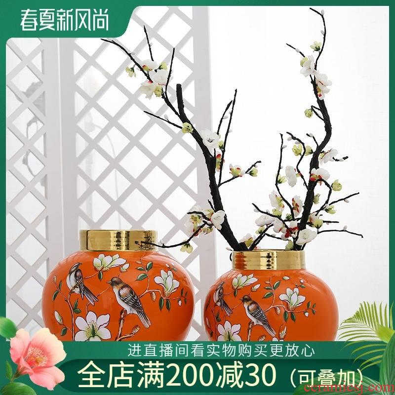Mesa of jingdezhen ceramic vase light sitting room key-2 luxury furnishing articles decorations flower arranging hydroponic household simulation flower, flower art