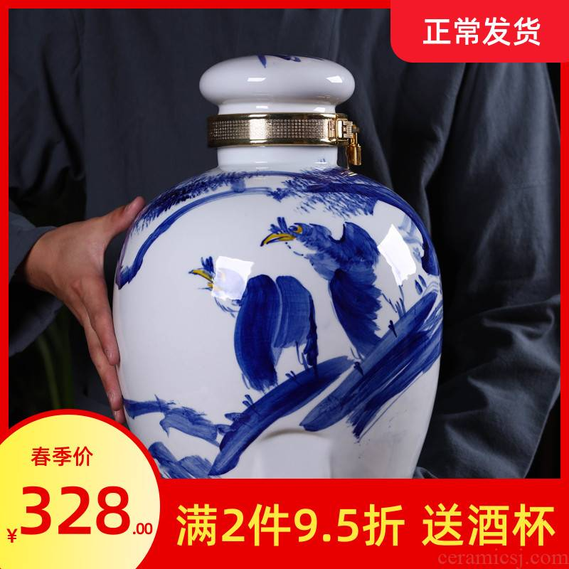 Hand - made mercifully of blue and white porcelain bottle 10 jins 30 jins 50 pounds with leading domestic sealed jar up sect wine jar