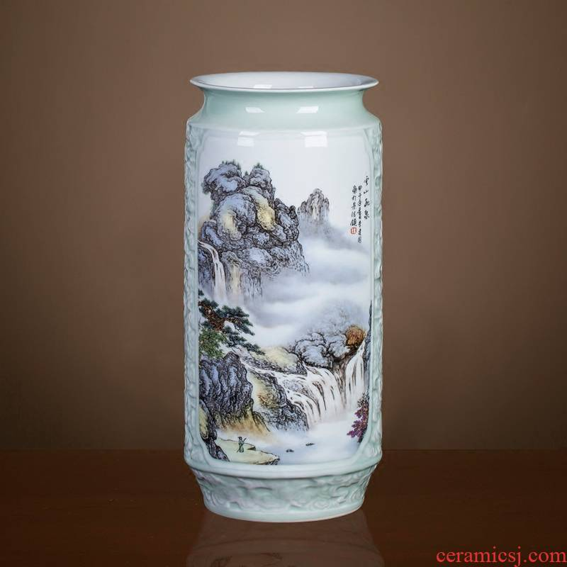 Jingdezhen ceramics antique Chinese landscape painting vase home sitting room adornment is placed on the calligraphy and painting scroll cylinder