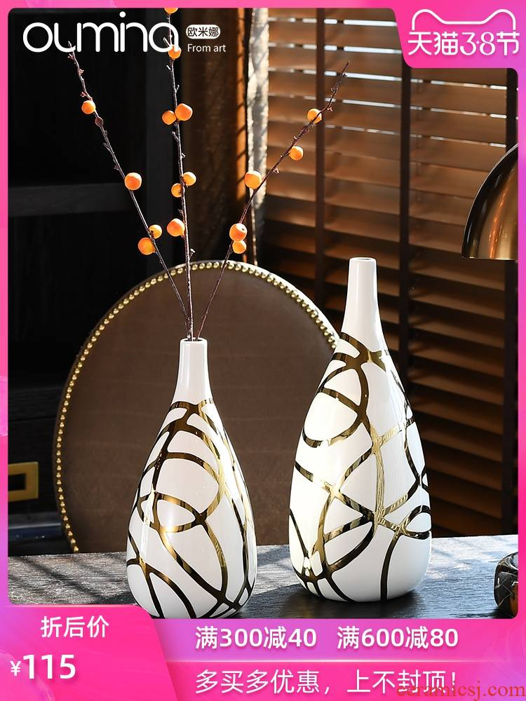 The mina European golden flower arranging dried flowers, flower implement furnishing articles home sitting room household porcelain decoration decoration