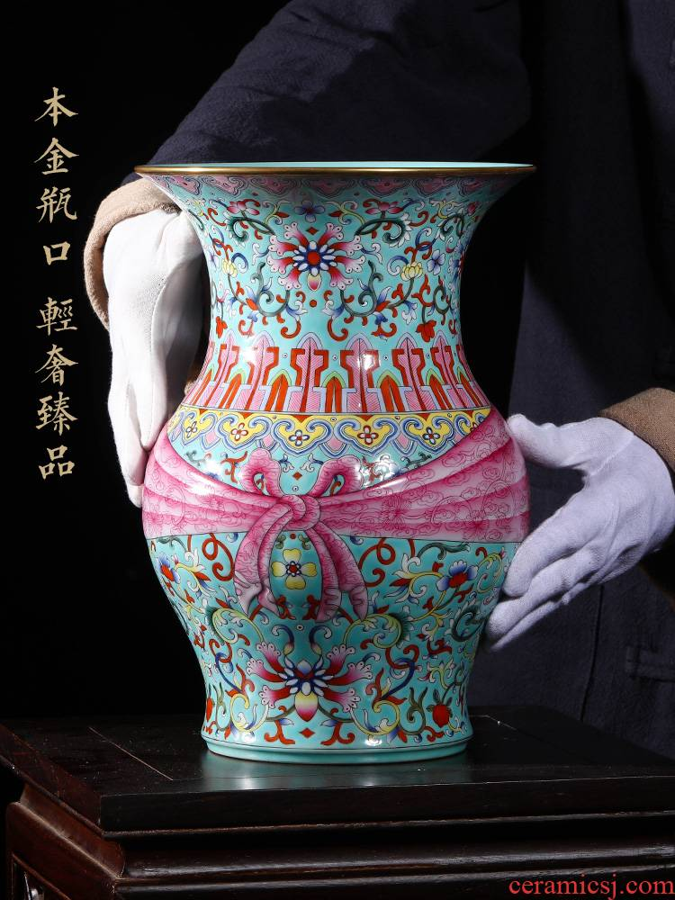 Jia lage jingdezhen home furnishing articles indoor ceramic vase YangShiQi green pastel lotus design grain baggage