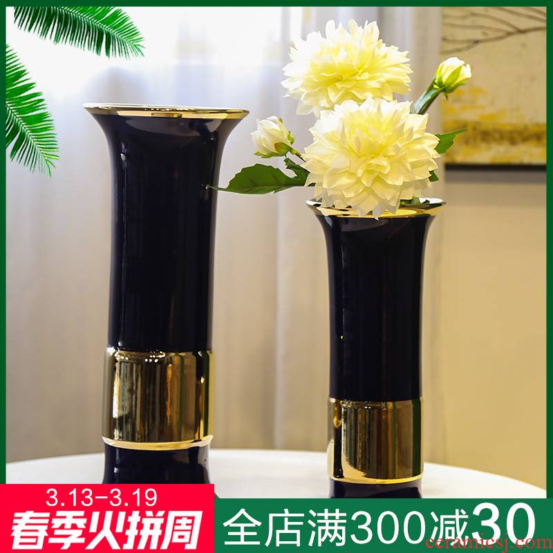 Light of jingdezhen ceramic vases, new Chinese style decoration key-2 luxury furnishing articles mesa flower arranging fake flower implement household table sitting room