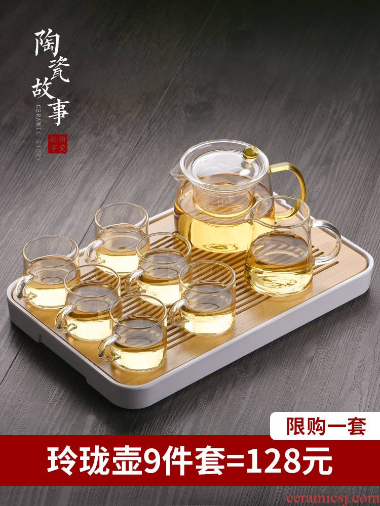 Ceramic story glass tea set suit small household set of tea tray was kung fu tea sets contracted tea cups