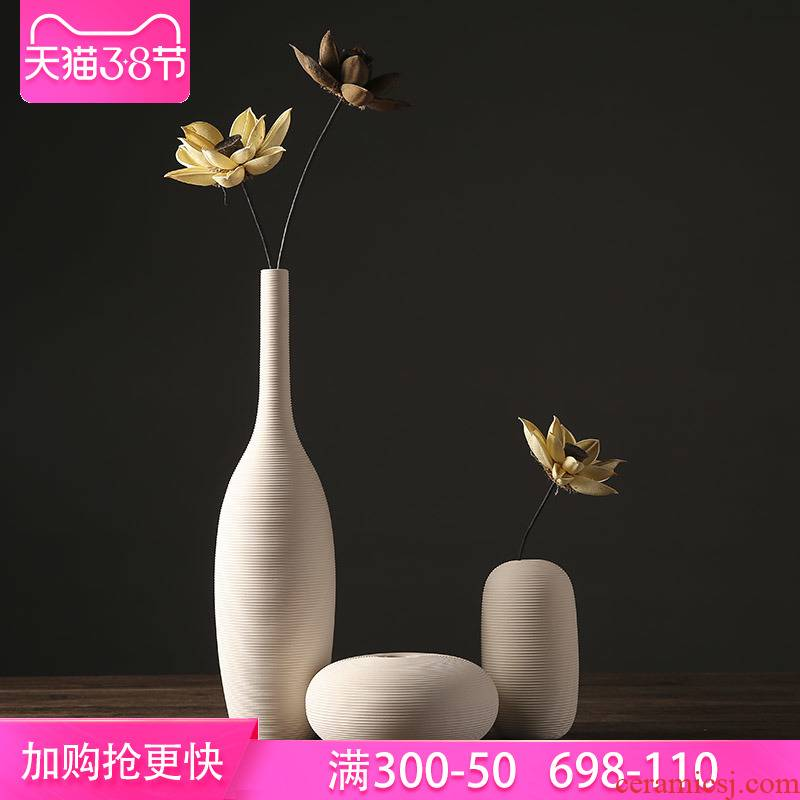 The Nordic white ceramic vase furnishing articles I and contracted Europe type dry flower arranging flowers sitting room household soft adornment