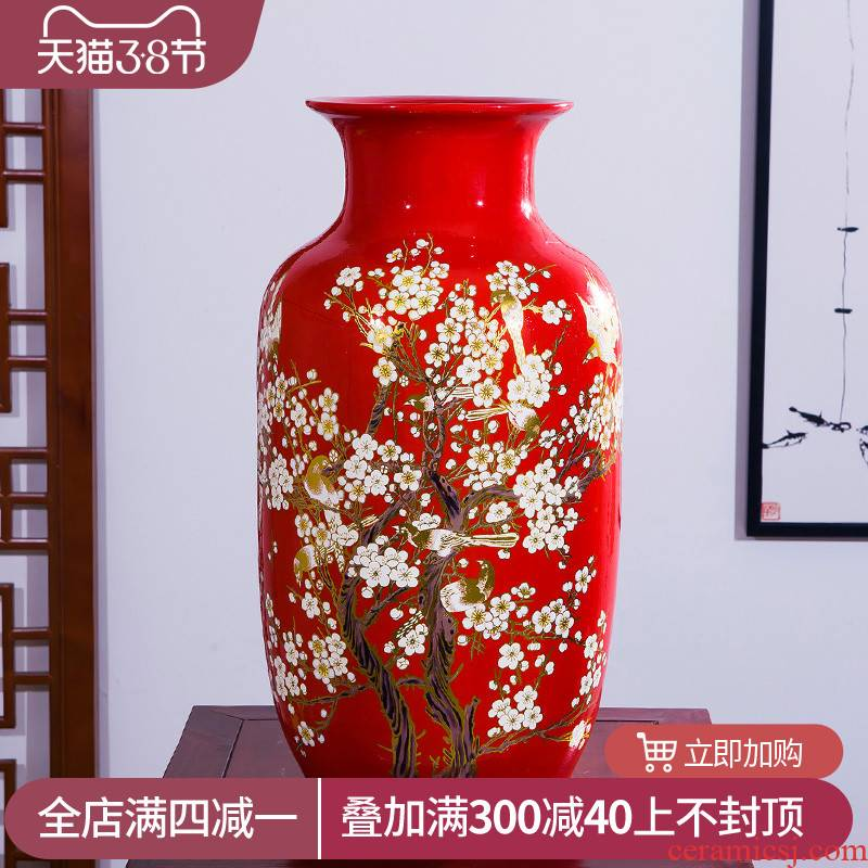 Jingdezhen ceramics vase high place Chinese red beaming Angle of what adornment sitting room ground decoration