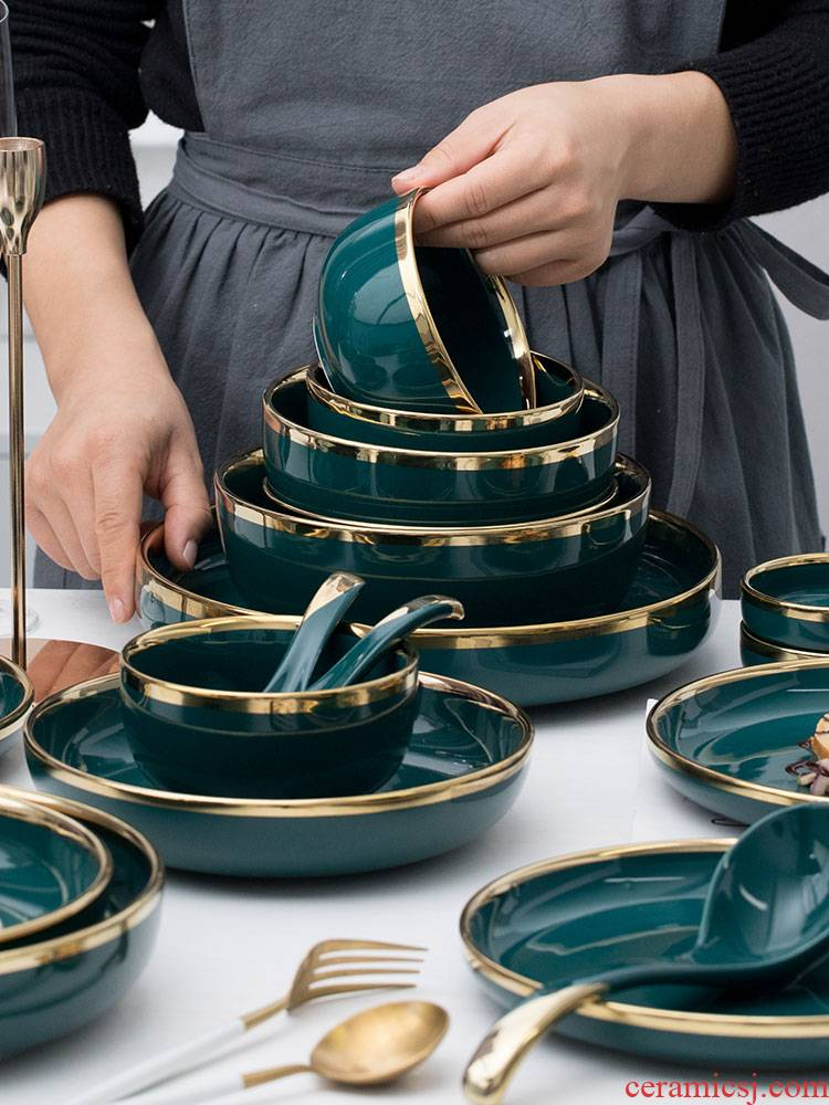 Dishes suit northern wind emerald ceramic creative move household light key-2 luxury web celebrity ins tableware Dishes chopsticks