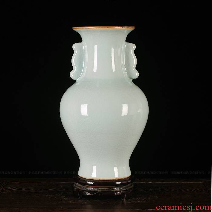 Jingdezhen porcelain jade ice crack crystal color glaze vase modern classical handicraft furnishing articles in the living room