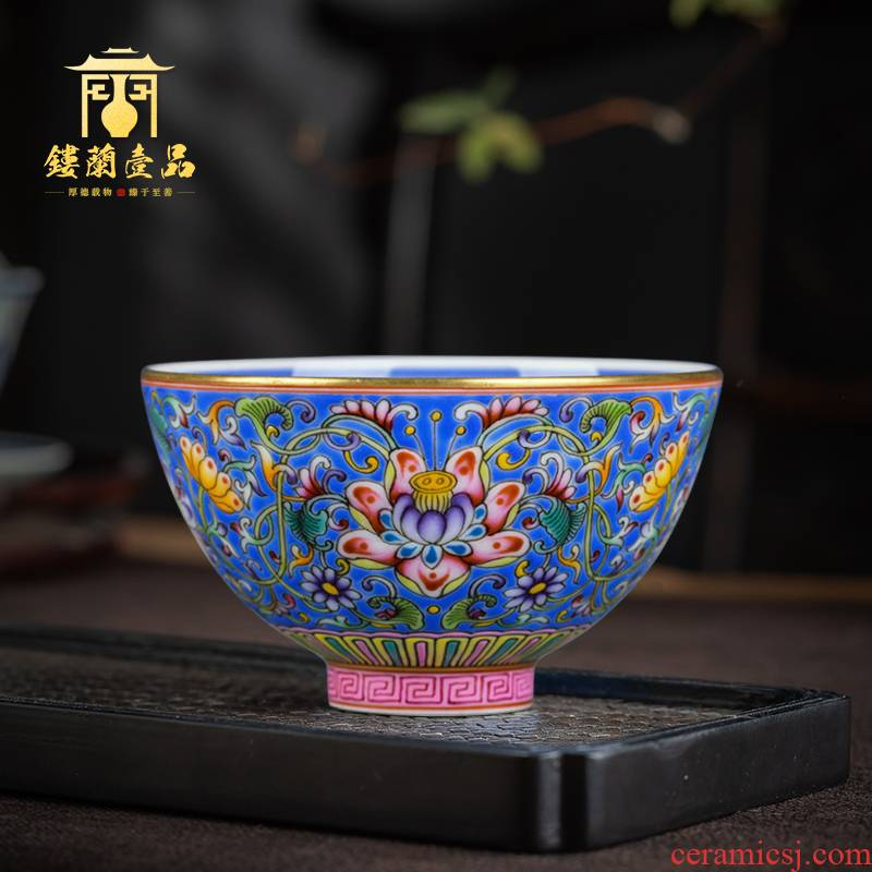 Jingdezhen ceramic hand - made blue colored enamel inside to treasure phase flower cup cup single sample tea cup cup kung fu master