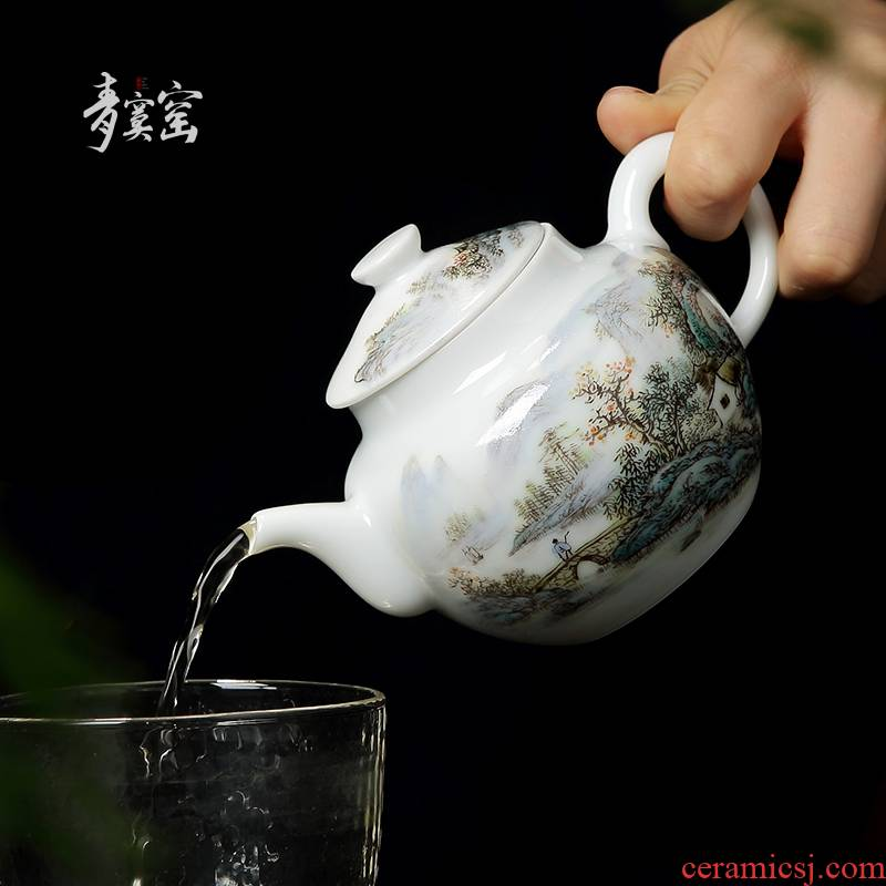 Up with jingdezhen ceramic teapot tea manually hand - made pastel blue was single pot of domestic large teapot