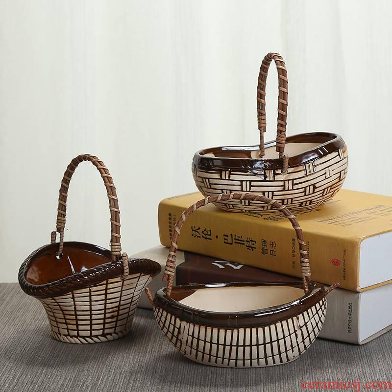 Meaty plant pot green plant bracketplant ceramic flower pot large basin of zhuang zi basket flower pot interior furnishing articles