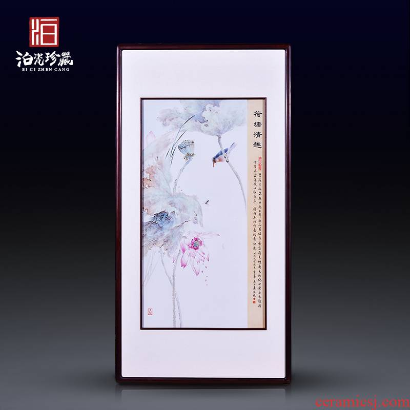 High - quality goods of jingdezhen ceramics hand - made of lotus pond clear interesting porcelain plate painter study of sitting room adornment wall hanging in furnishing articles