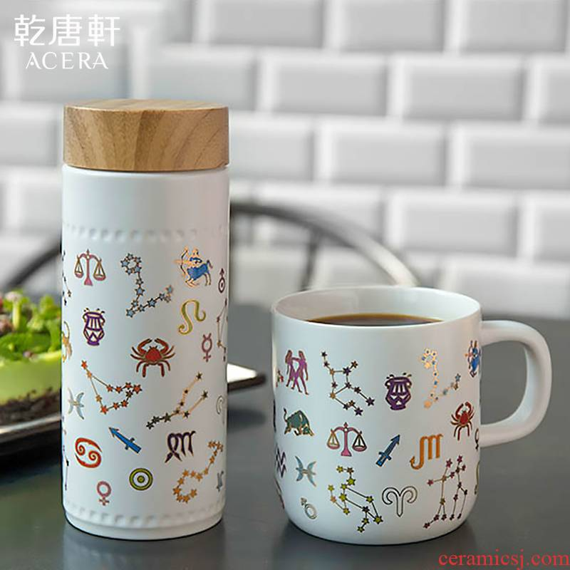 Dry Tang Xuan porcelain live 12 zodiac signs with creative/mark cup with cover ceramic water in a cup men and women lovers gifts