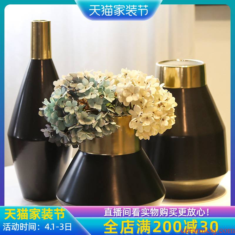 Jingdezhen creative mesa of the sitting room porch vase hotel villa decoration flower flower flower implement simulation table furnishing articles