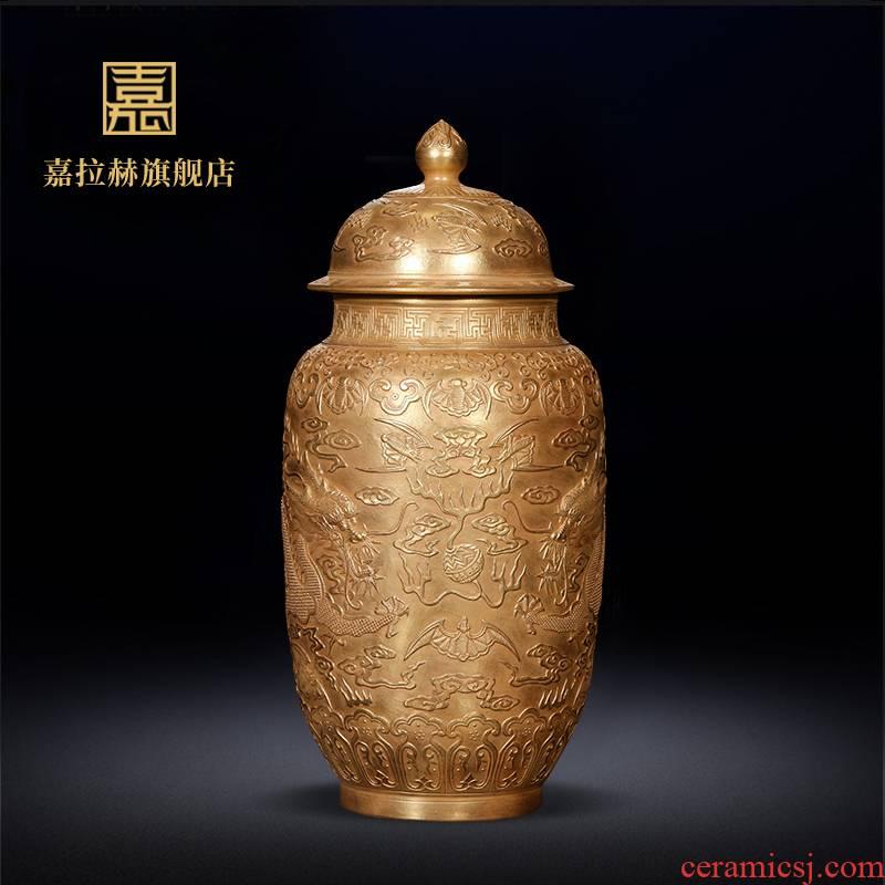Jia lage Chinese jingdezhen ceramics YangShiQi gold vase furnishing articles sitting room adornment handicraft carving