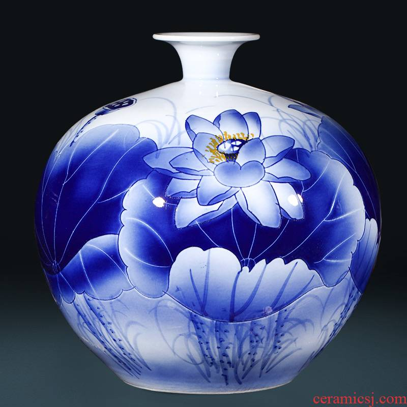The Master of jingdezhen ceramics hand - made of blue and white porcelain vase pomegranate bottle of large Chinese sitting room adornment is placed