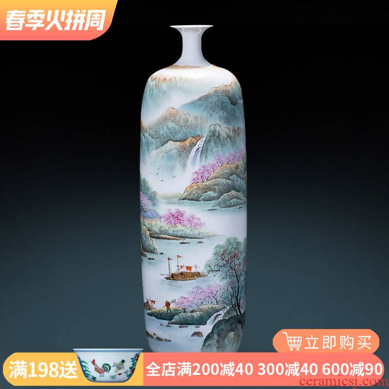 Jingdezhen ceramics by hand draw pastel landscape floor vases, new Chinese style adornment furnishing articles large living room