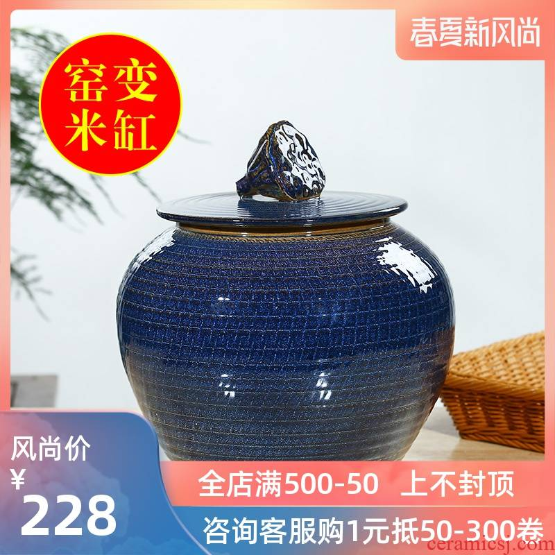 Jingdezhen ceramic barrel rice bucket 30 jins home 20 jins storage bins with cover seal insect - resistant moistureproof tank
