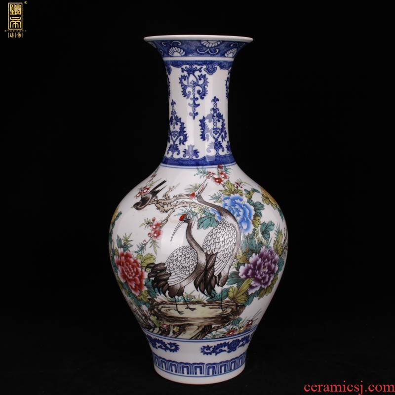 Jingdezhen color bucket crane, grain design of Chinese style classical home sitting room ark of desk of archaize porcelain vases, decorative furnishing articles