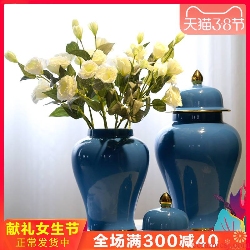 Jingdezhen general new Chinese style originality can of vases, flower implement gold - plated sitting room porch decorate ceramic flower big furnishing articles