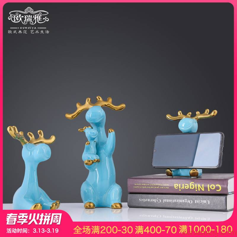European furnishing articles creative decorations functional ceramic deer living room TV cabinet decoration girlfriends wedding wedding gift
