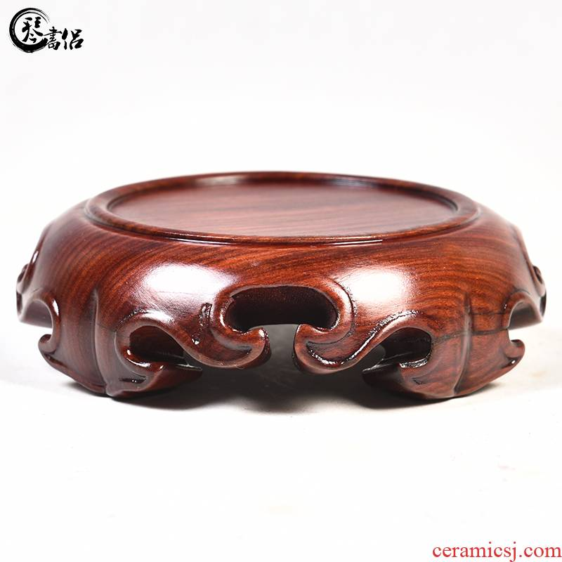 Red wingceltis spend pear mahogany round base solid wood furnishing articles log base stone, jade zisha teapot tea base