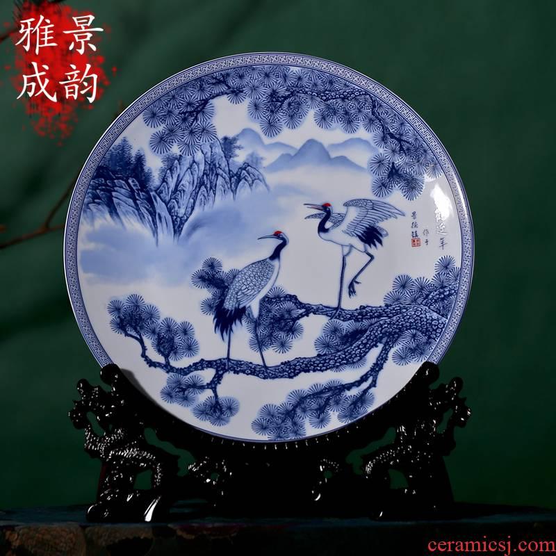 Jingdezhen blue and white cranes classical decoration porcelain ceramic decoration decoration hanging dish furnishing articles porcelain suits for