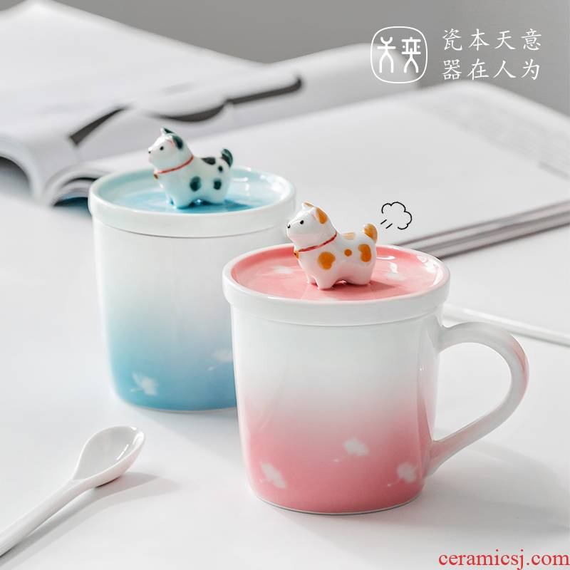Day Wilson of jingdezhen ceramic cup express dog mark cup with cover with a spoon, cup cup coffee office men and women