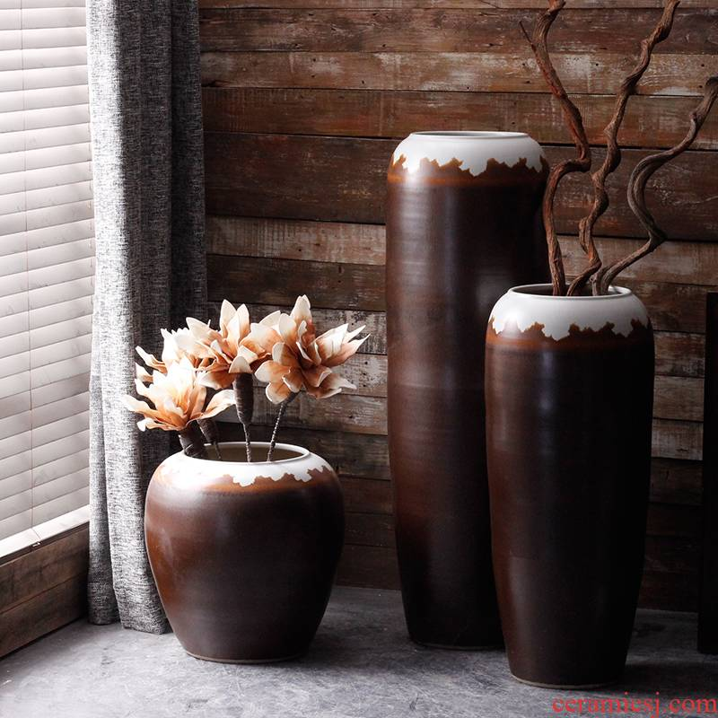 Jingdezhen ceramic vase of large new Chinese style living room flower arranging furnishing articles europeanism courtyard garden flowerpot ornaments