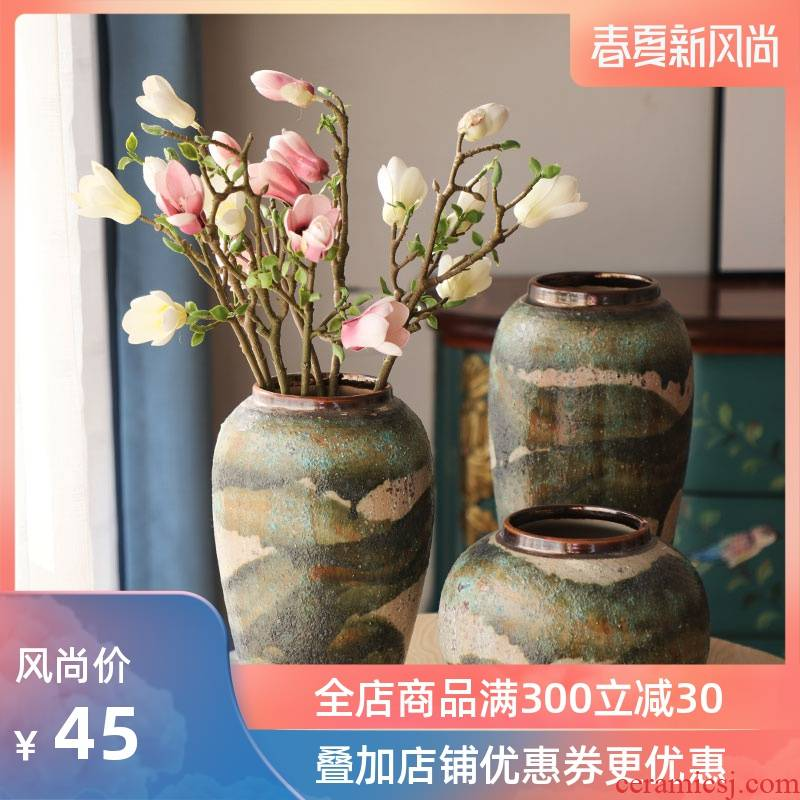Contracted style dry flower vases, flower implement coarse pottery earthenware lucky bamboo adornment study club house sitting room restoring ancient ways