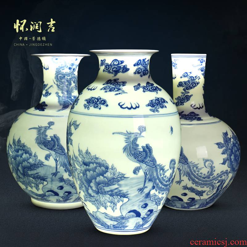 Jingdezhen ceramic vase hand - made porcelain and exquisite porcelain vase antique vase of modern Chinese style household decorative furnishing articles