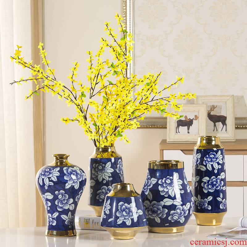 Jingdezhen hand made blue and white porcelain vase furnishing articles of modern Chinese style living room dry flower arranging flowers ceramic soft adornment ornament