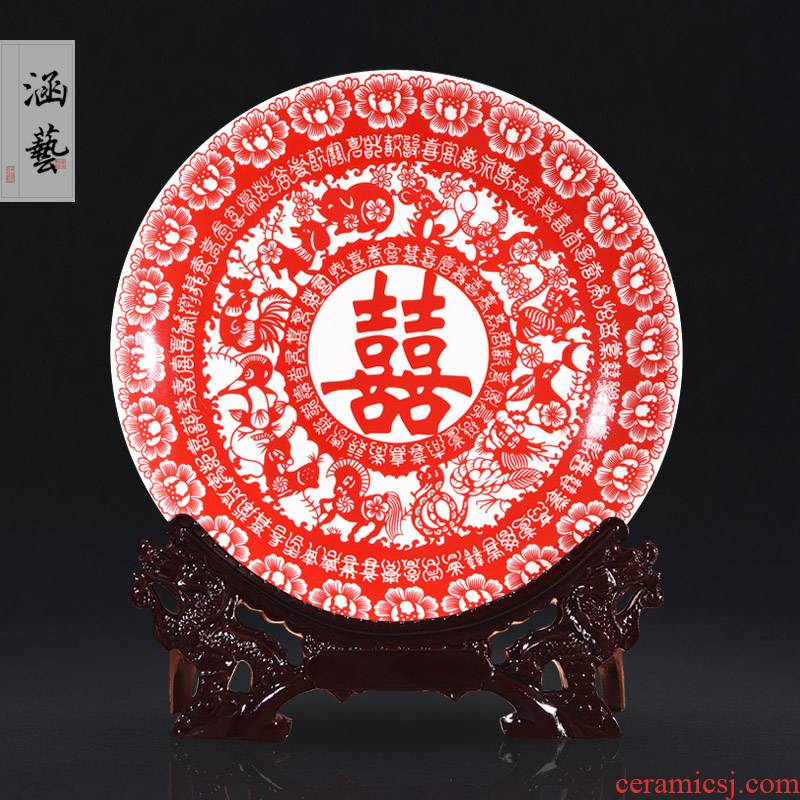 Jingdezhen ceramics festival decoration Chinese zodiac hang dish plate of new Chinese style household crafts home furnishing articles
