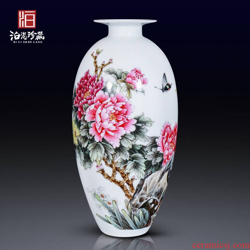 Jingdezhen ceramics hand - made peony pastel flowers decorative vase sitting room furniture collection of new Chinese style furnishing articles